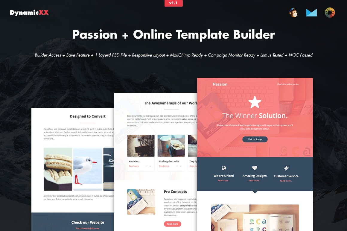 Passion Online Template Builder Email Templates Creative Market - Mailchimp psd template