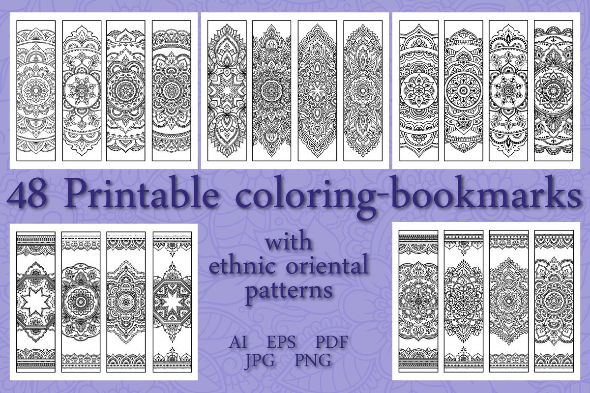 Set Of 48 Coloring Bookmarks Custom Designed Illustrations