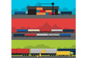 Logistics infographic banner set.