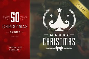 50 Christmas labels and badges