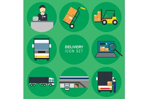 Cargo delivery icon set