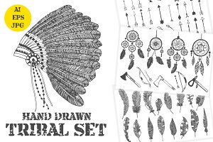Hand drawn tribal elements set
