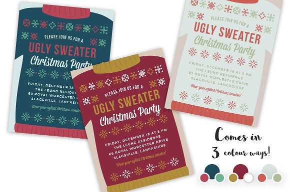 Ugly Sweater Christmas Party Invite Invitation Templates - Ugly sweater christmas party invitations template