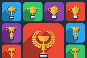 Trophy flat icons