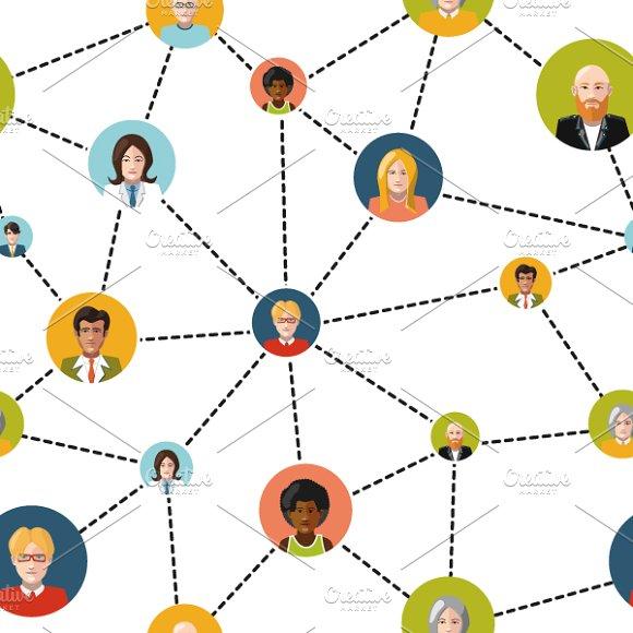 Flat people avatars in social net