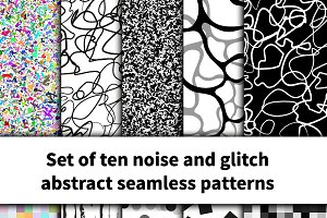 Set of ten noise and glitch pattern