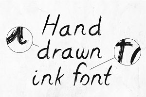 Hand-drawn dirty ink grunge font wit