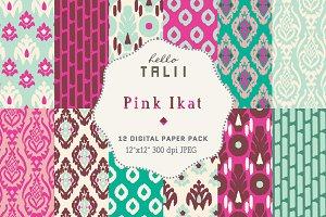 Pink Ikat Digital Paper