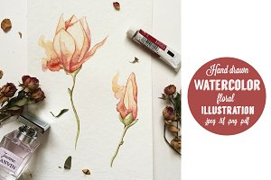 Watercolor hand drawn flowers