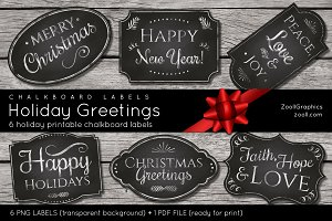 Chalkboard Labels Holiday Greetings