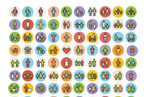 100 Family Icons Set