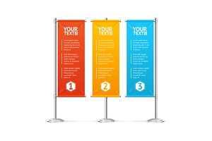 Blank Banner Flags Colorful Set