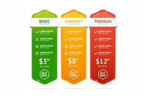 Pricing List Set. Vector
