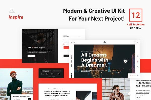 Inspire Ui Kit Cta For Web Creative Photoshop Templates Creative Market