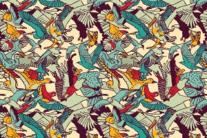 Wild birds seamless pattern