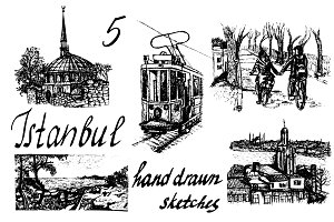 5 vector handdrawn Istanbul sketches