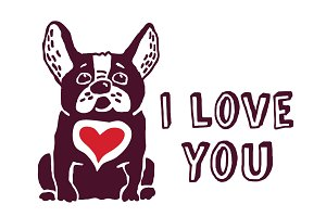 French bulldog with red heart