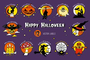 Happy Halloween vector icons