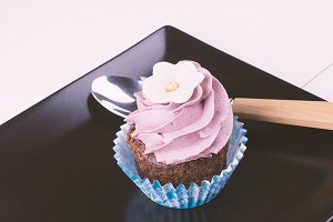 Fres cupcake and spoon