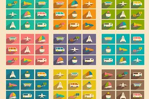Flat concept transports icons