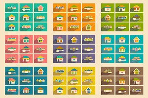 Flat concept houses icons