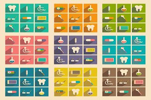 Flat  concept medicine icons