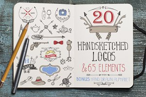 Hand drawing logo bundle 2.Vintage