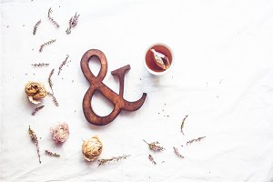 Tea and wooden ampersand