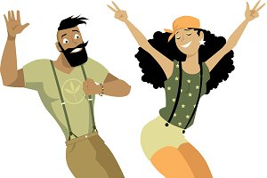 Hipsters dancing