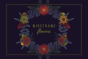 Wireframe Flower Ornaments