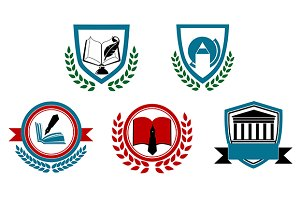 Set of university and college icons