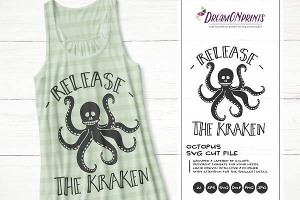 Octopus Svg Release The Kraken Svg Pre Designed Photoshop Graphics Creative Market
