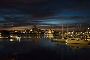 Twilight view of harbor, Victoria