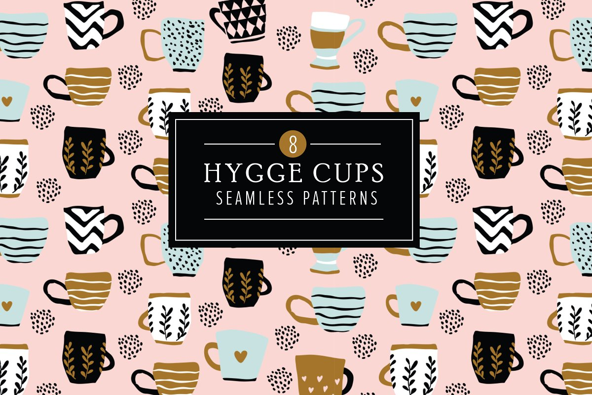 Hygge Cups 8 Seamless Patterns