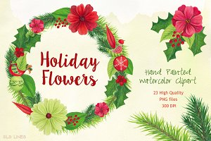 Holiday Flowers Christmas Watercolor