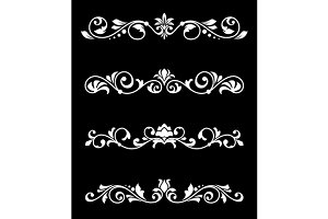 Retro floral borders and dividers