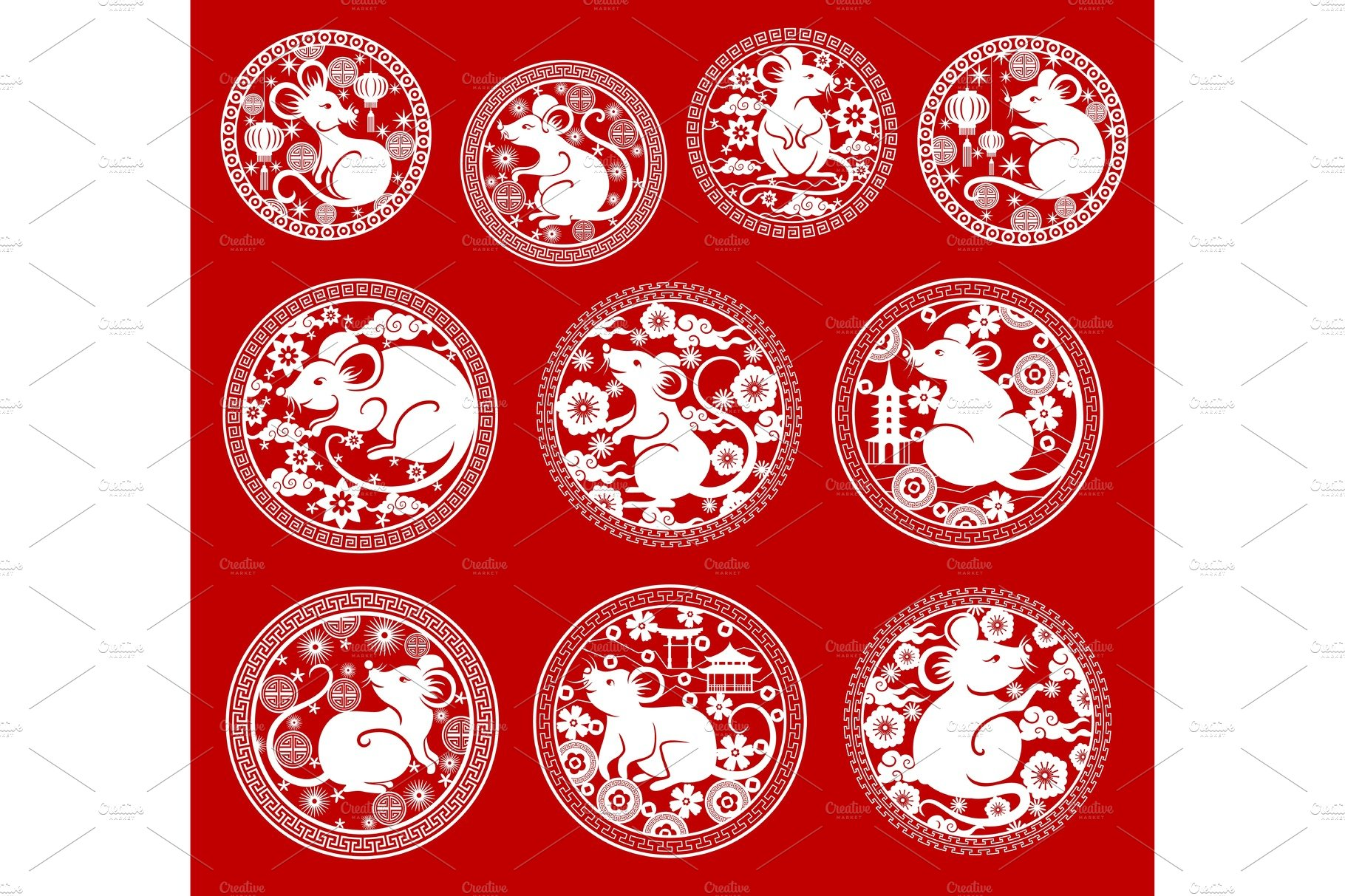 rat symbols chinese lunar new year pre designed vector graphics creative market rat symbols chinese lunar new year