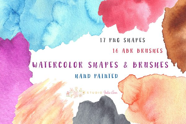 Watercolor Splotches Shapes Brushes
