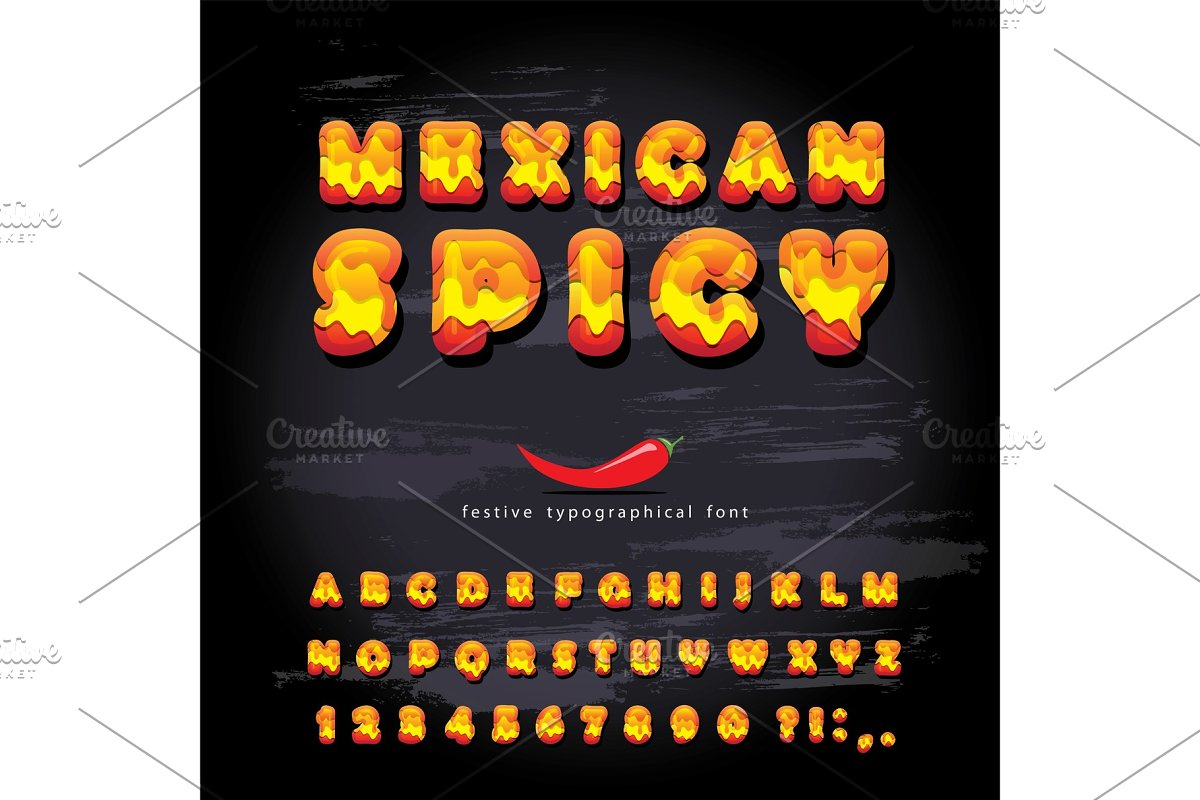Mexican spicy cartoon letters. Hot