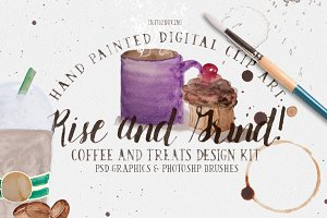 Rise & Grind: Coffee Clipart! 40%off