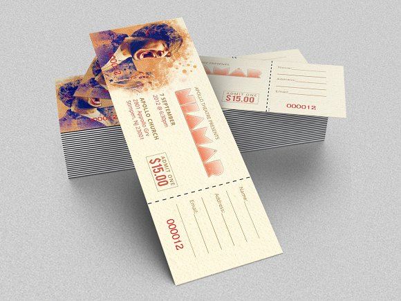 concert ticket template templates creative market