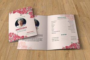Floral Funeral Program Template-V216