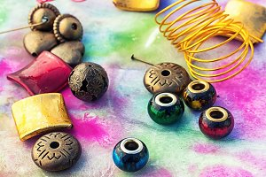 Beads and tools for needlework on br