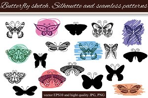 Butterfly Sketch & seamless patterns