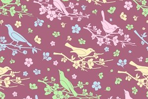 Flowers & birds seamless background