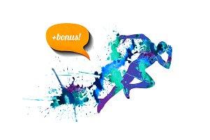 Watercolor runner. Vector