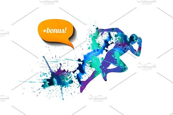 Watercolor runner. Vector - Illustrations