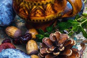 Mug with herbal medicinal tea