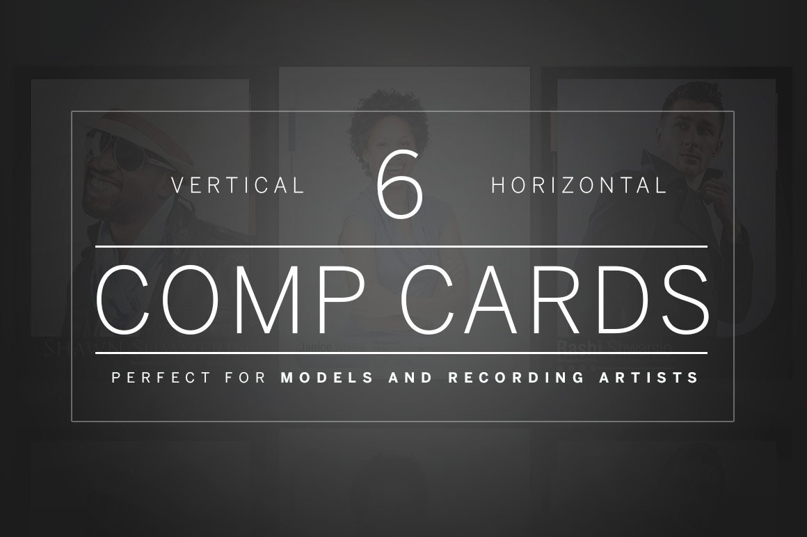 free comp card template - vertical and horizontal comp cards templates creative