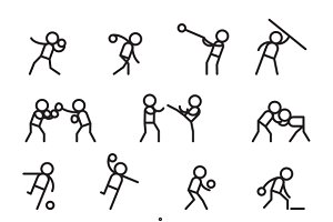 Sports and martial arts line icons